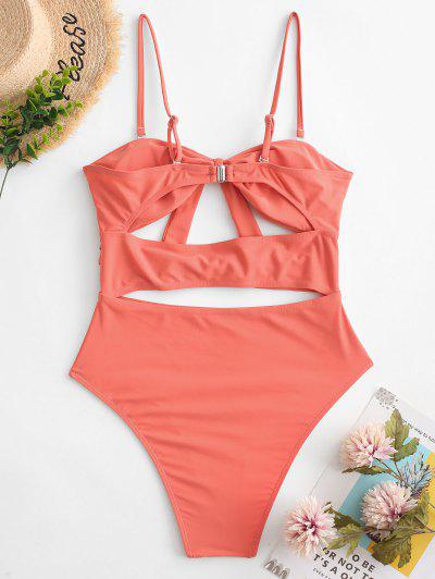 2df022cfcaa6 ... ZAFUL Dual Knot Cutout Bandeau One-piece Swimsuit - Bean Red L
