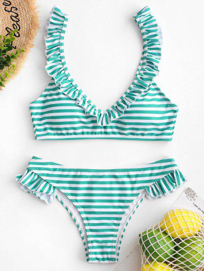 ZAFUL Ruffle Striped Bikini Swimsuit