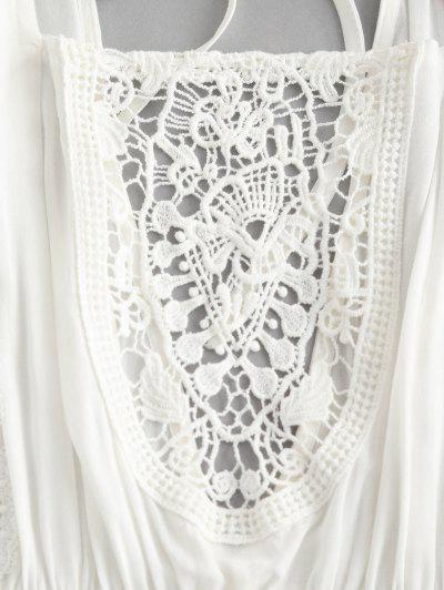 ZAFUL Square Neck Crochet Panel Backless Mini Dress, Milk white