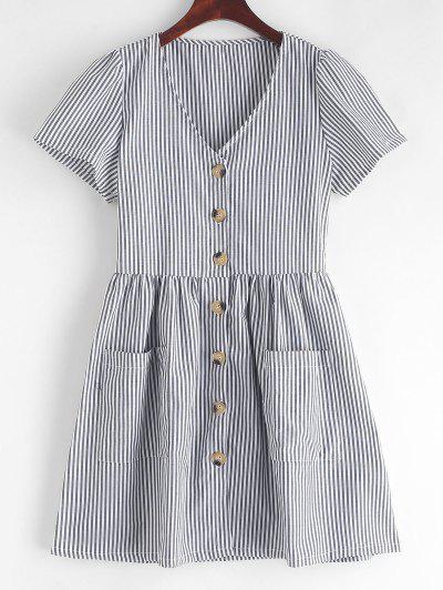 Striped Button Through Pocket Dress - Black Xl