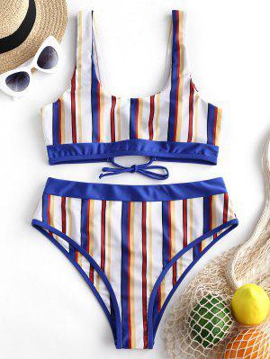 ZAFUL Multi Stripe Lace-up Tank Bikini Swimsuit - Multi-a S