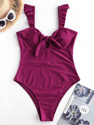 ZAFUL Ruffle Knot One-piece Swimsuit - Velvet Maroon S