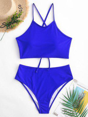ZAFUL Crisscross Lace-up Tankini Swimsuit - Cobalt Blue S
