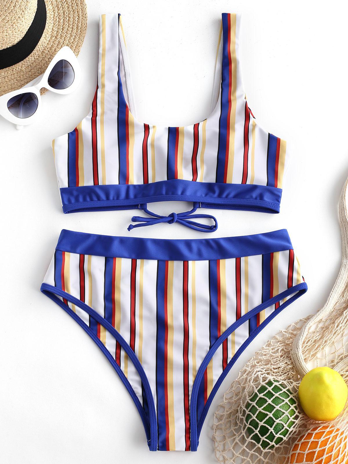 ZAFUL Multi Stripe Lace-up Tank Bikini Swimsuit, Multi-a