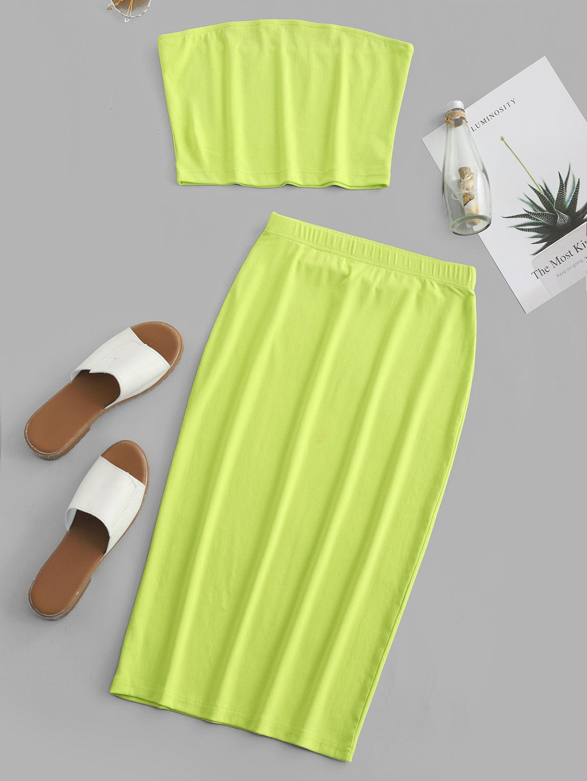 ZAFUL Plain Neon Bandeau Top And Skirt Set, Tea green