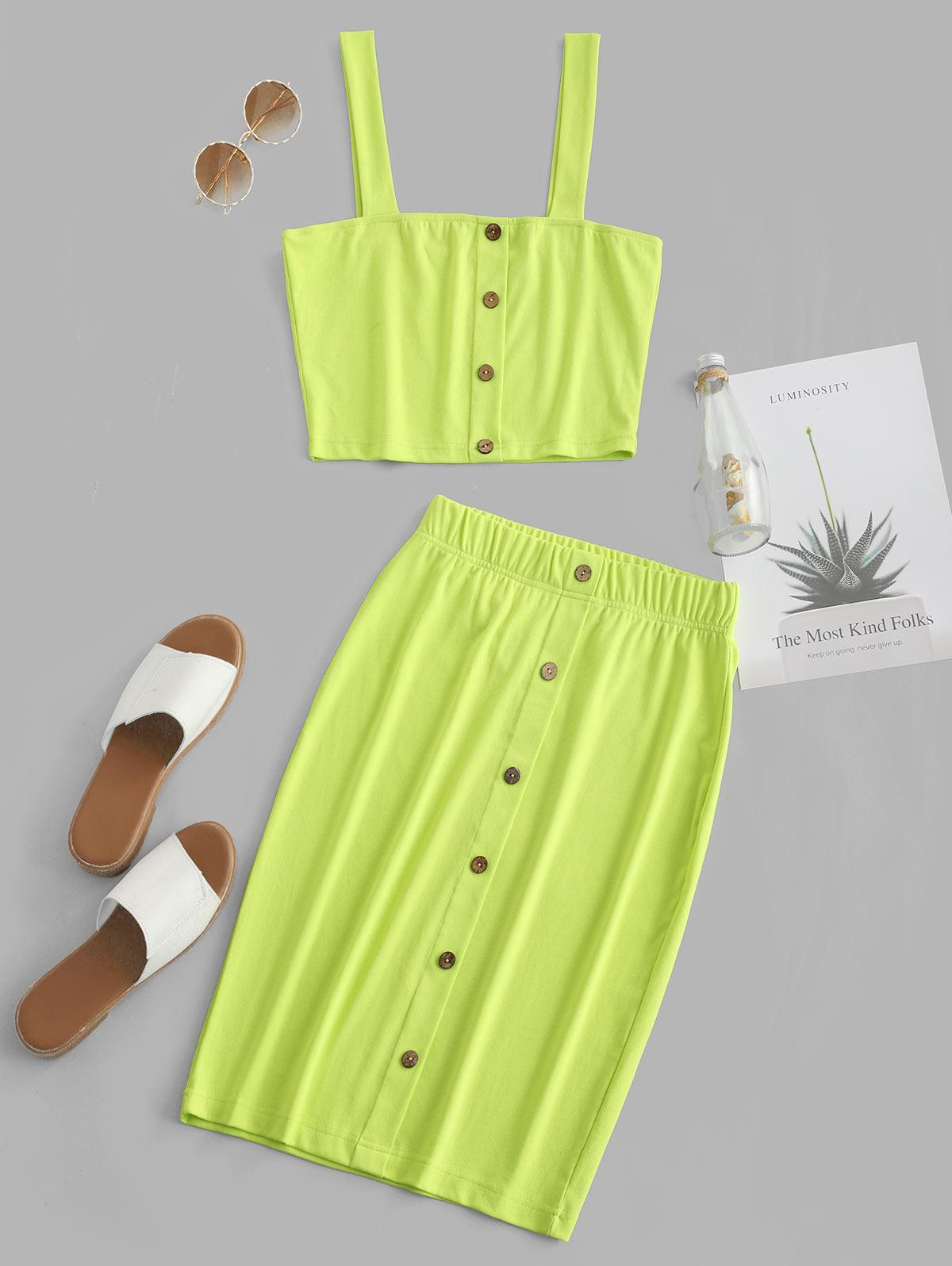 ZAFUL Buttoned Cropped Neon Two Piece Dress, Tea green