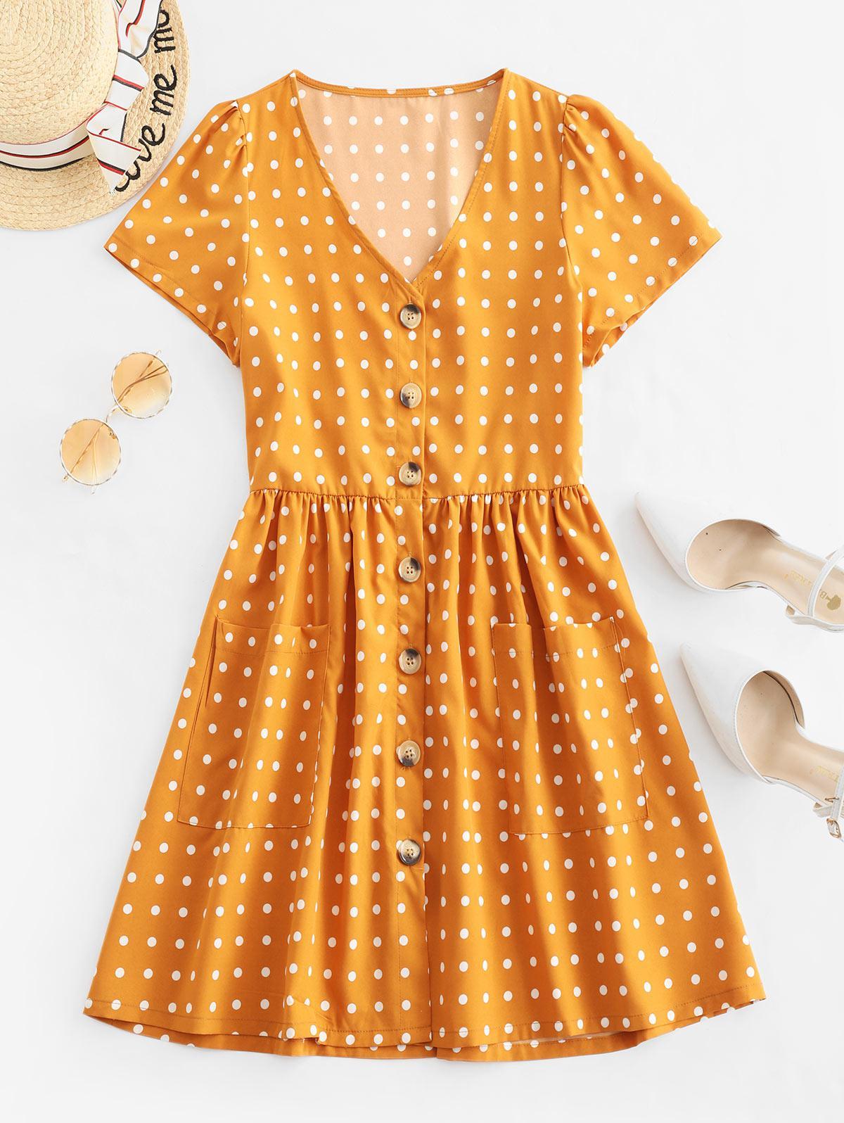 Polka Dot Pulsante Tasca A V Neck Dress