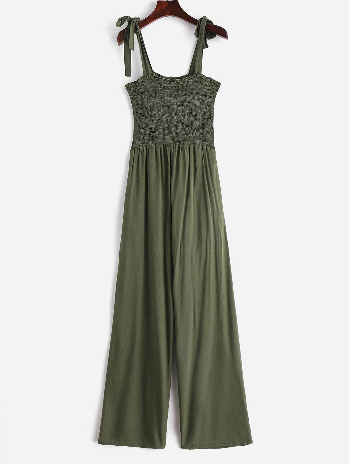 Tied Straps Smocked Wide Leg Jumpsuit, Army green