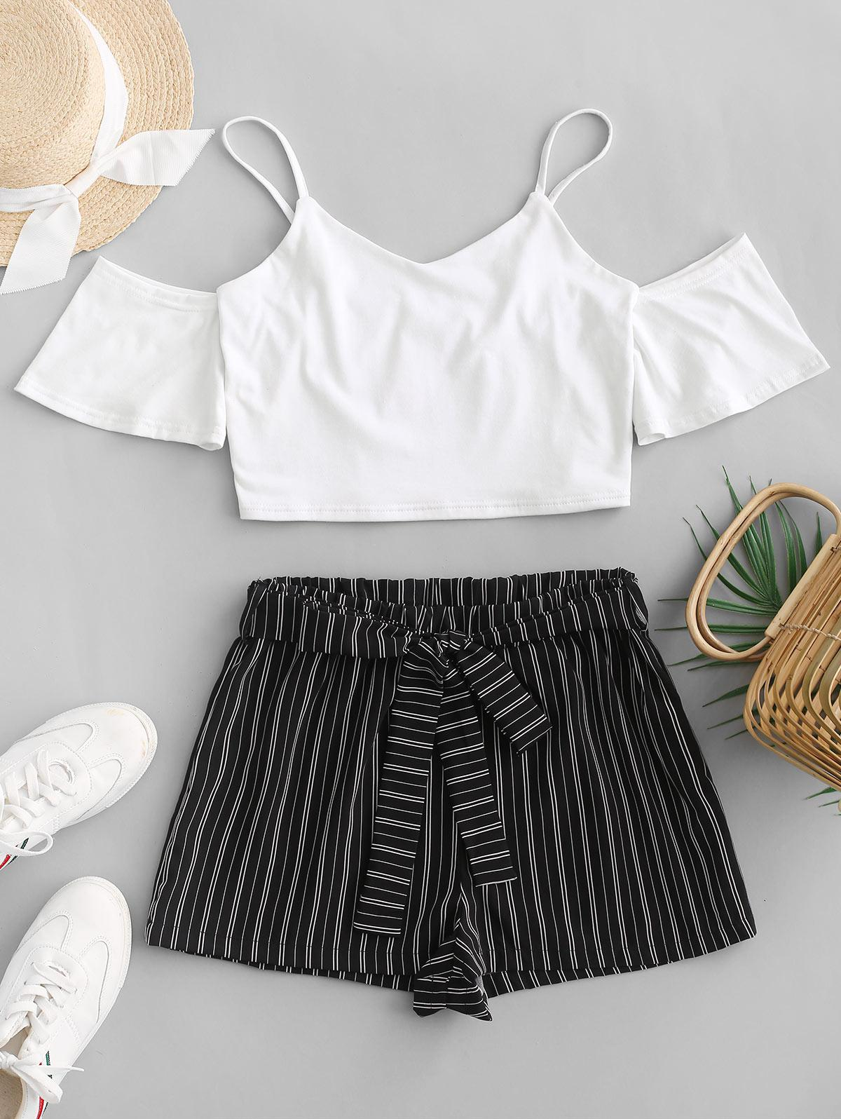 ZAFUL Crop Cami Top and Striped Belted Shorts Set, White