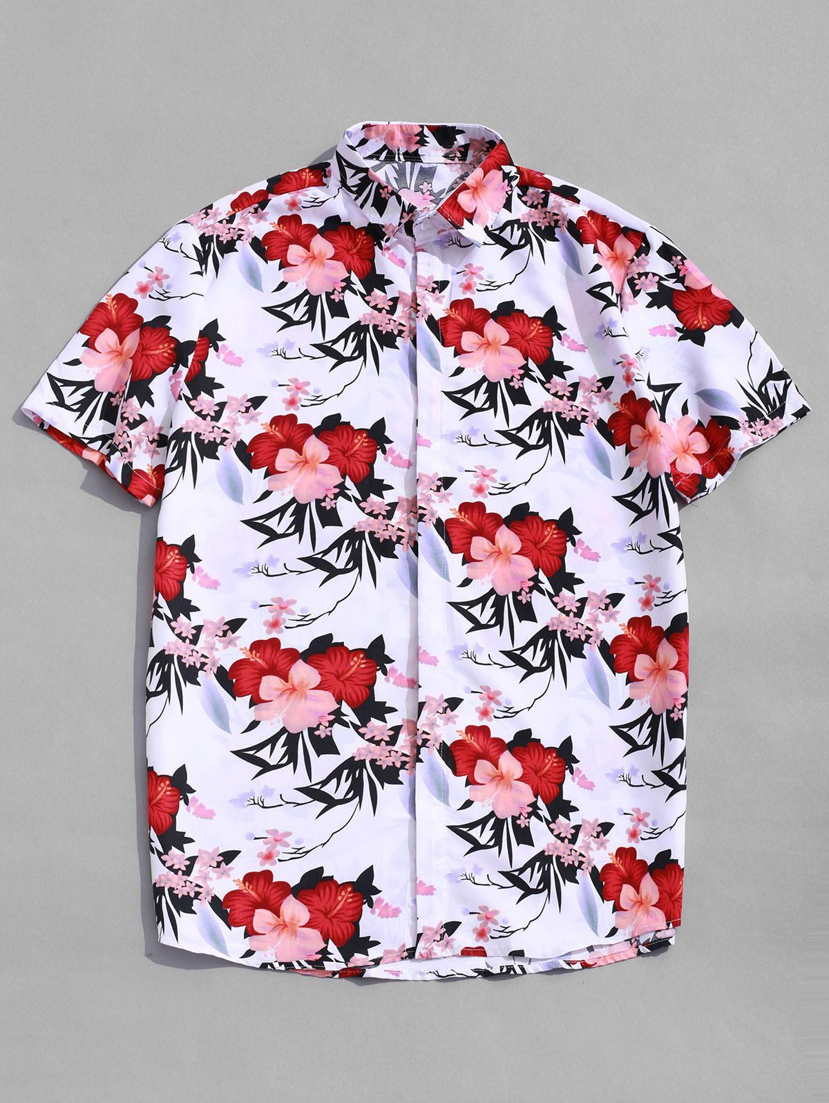 Hawaii Fiori Allover Print Manica Corta Casual Spiaggia Shirt