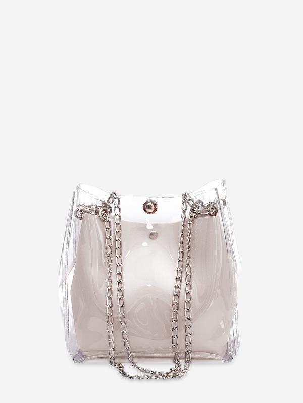 Transparent Chain Casual Bucket Bag, Milk white