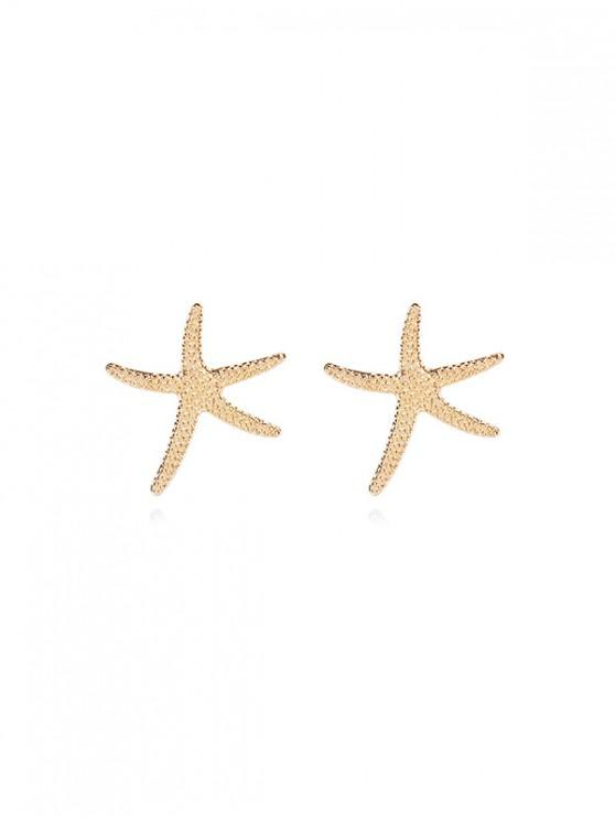 Orecchini a forma di conchiglia con stelle marine e cavalluccio marino - Oro stella marina