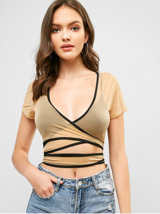 women's Mesh Sheer Contrast Trim Crop Wrap Tee - CARAMEL L