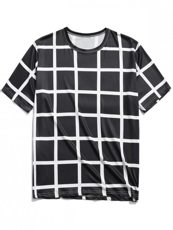 fashion Allover Plaid Print Casual Short Sleeves T-shirt - BLACK XL