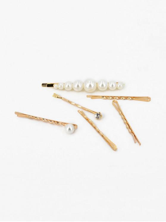 affordable Chic Faux Pearl Alloy Hairpins Set - GOLD