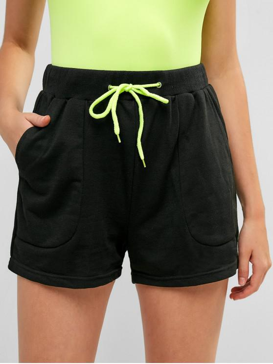 chic High Waisted Drawstring Pockets Sports Shorts - BLACK L