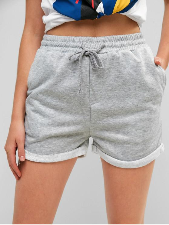 fancy Drawstring Cuffed Sweat Shorts - LIGHT GRAY S
