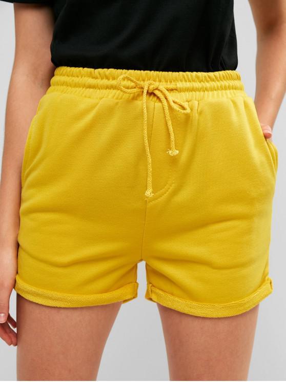 women Drawstring Cuffed Sweat Shorts - YELLOW L