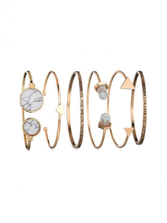 sale Retro Geometric Marble Print Cuff Bracelet 6 Piece Set - GOLD