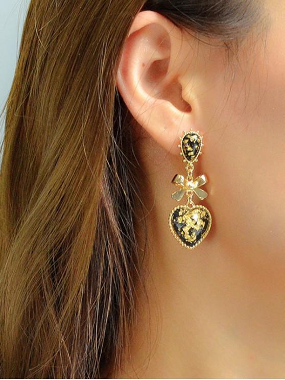 buy Bow Heart Drop Earrings - GOLD