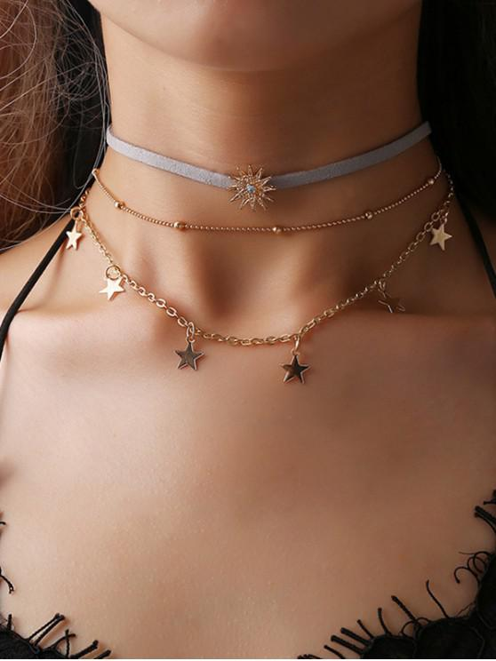 latest Multilayered Star Pendant Choker Necklace - GOLD