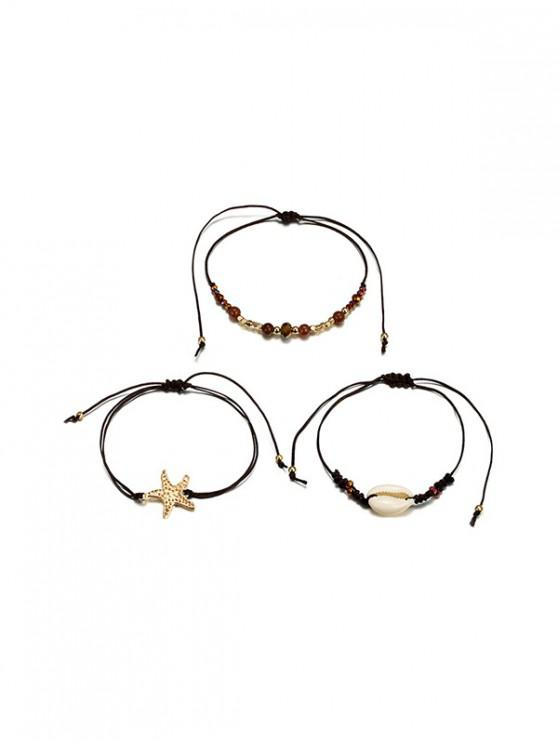 chic Starfish Beaded Shell Rope Multilayered Bracelet Sets - GOLD