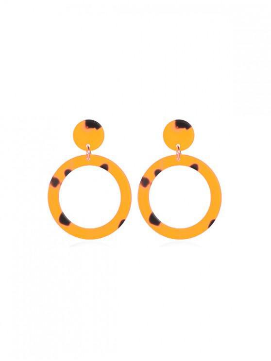 Orecchini pendenti acrilici a cerchio rotondo - Giallo d'oro