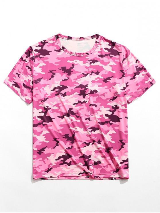 Camiseta de manga corta con cuello redondo y estampado de camuflaje - Multicolor XL