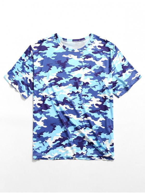 Camiseta de manga corta con cuello redondo y estampado de camuflaje - Multicolor-A 2XL