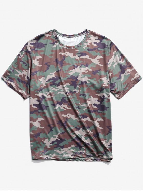Camiseta de manga corta con cuello redondo y estampado de camuflaje - Multicolor-C XL