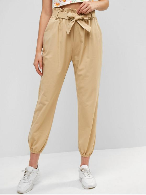 latest Belted Pockets Paperbag Jogger Pants - LIGHT KHAKI XL