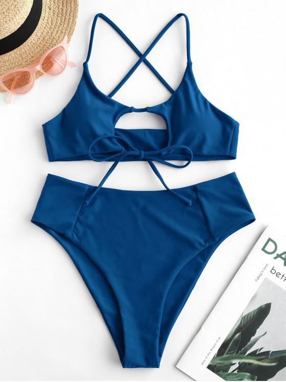 womens ZAFUL Cutout Crisscross High Waisted Bikini Swimsuit - BLUEBERRY BLUE L
