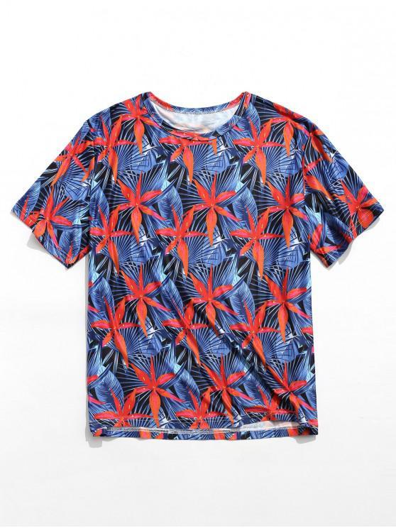T-shirt casual da spiaggia con stampa a fiori - Multi Colori 2XL