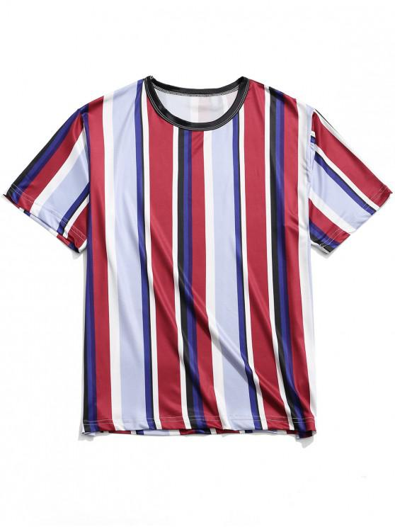 Vertical Striped Print Casual Short Sleeves T shirt MULTI MULTI A