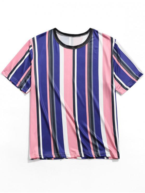 lady Vertical Striped Print Casual Short Sleeves T-shirt - MULTI XL