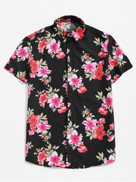 ladies Flower Allover Print Hawaii Beach Button Shirt - BLACK 3XL