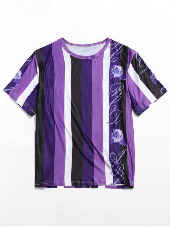 Camiseta de manga corta con estampado de rayas con bloques de color rosa - Multicolor XL