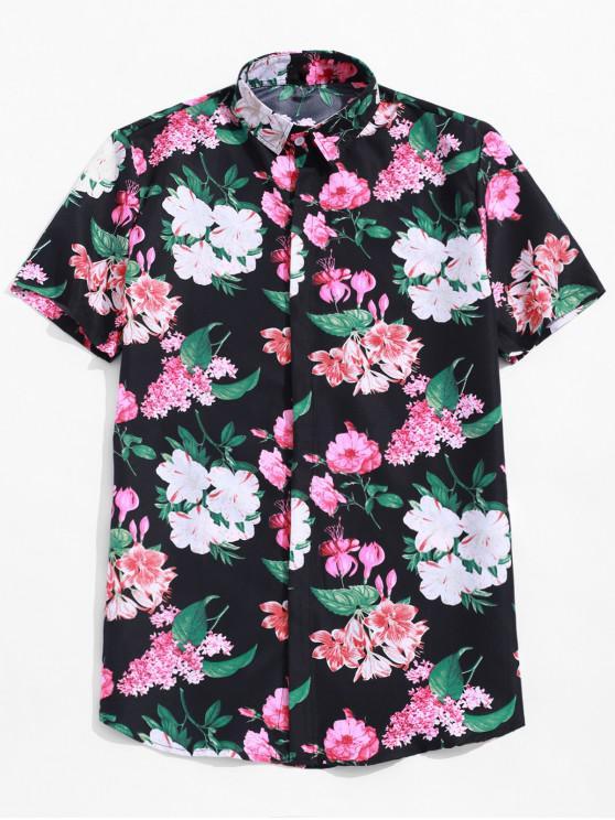 unique Flower Allover Print Hawaii Beach Short Sleeve Shirt - MULTI M