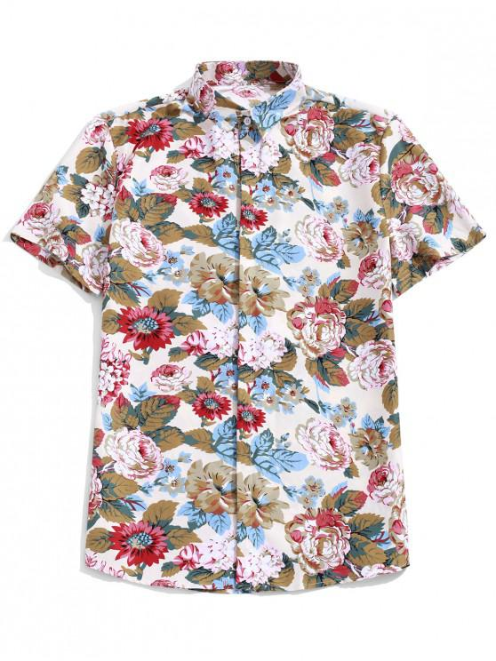 online Hawaii Flower Allover Print Casual Button Shirt - MULTI M