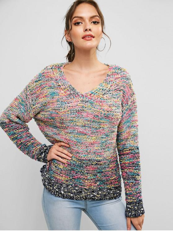 lady ZAFUL Drop Shoulder Heathered V Neck Sweater - MULTI M