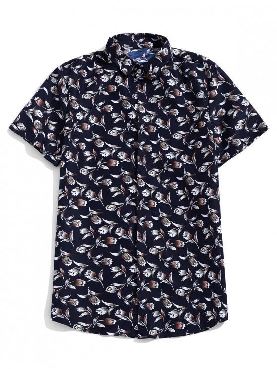 sale Flower Allover Print Short Sleeves Casual Button Shirt - DARK SLATE BLUE L