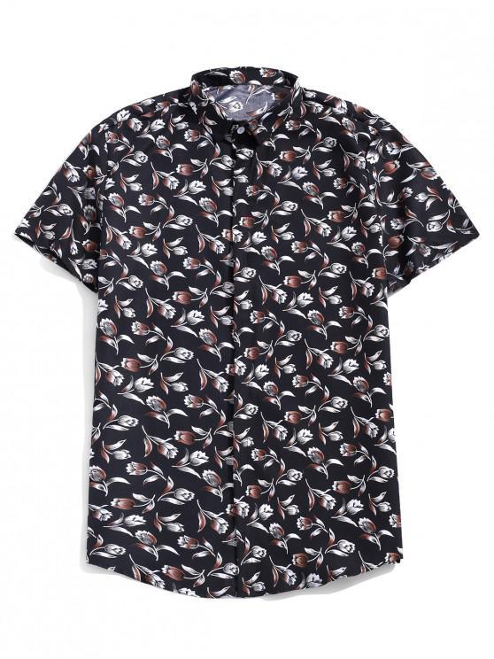 ladies Flower Allover Print Short Sleeves Casual Button Shirt - BLACK XL