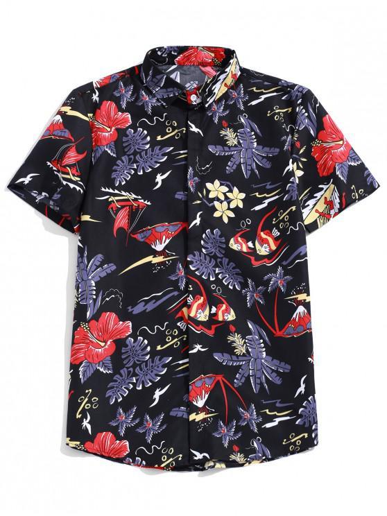 Camicia casual da spiaggia tropicale con stampa vegetale a fiori - Multi Colori L