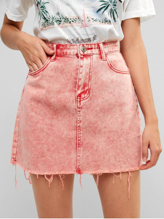latest Acid Washed Raw Hem Denim Skirt - LIGHT CORAL M