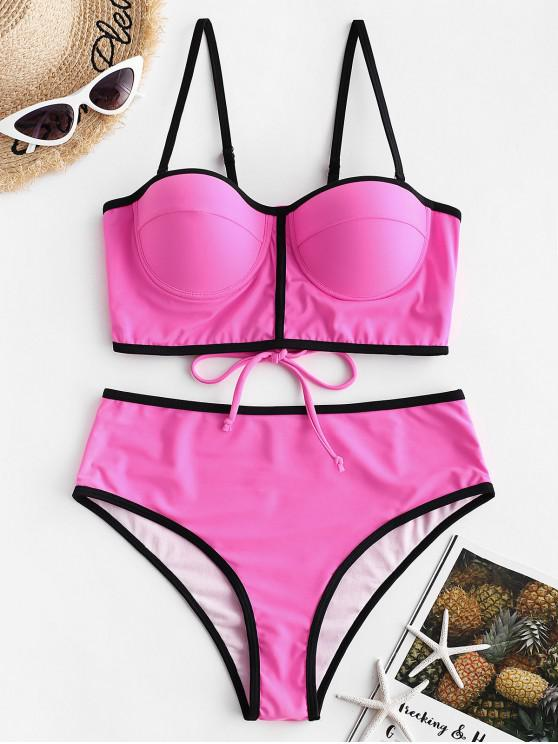 affordable ZAFUL Neon Contrast Piping Lace-up Push Up Tankini Swimsuit - ROSE RED L
