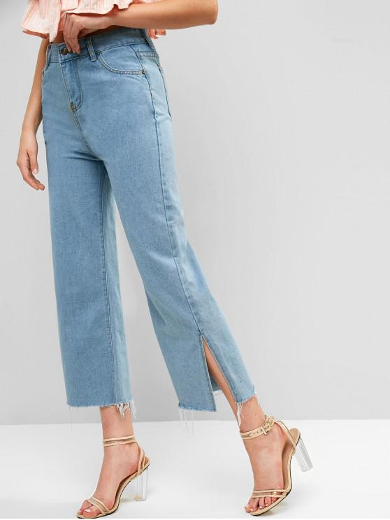 outfits Ninth Slit Frayed Wide Leg Jeans - JEANS BLUE XL
