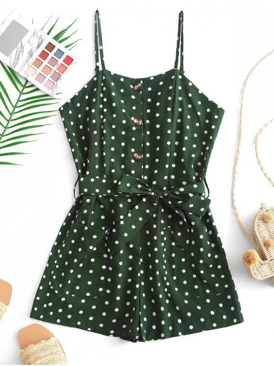 affordable Buttoned Polka Dot Belted Wide Leg Cami Romper - GREEN S