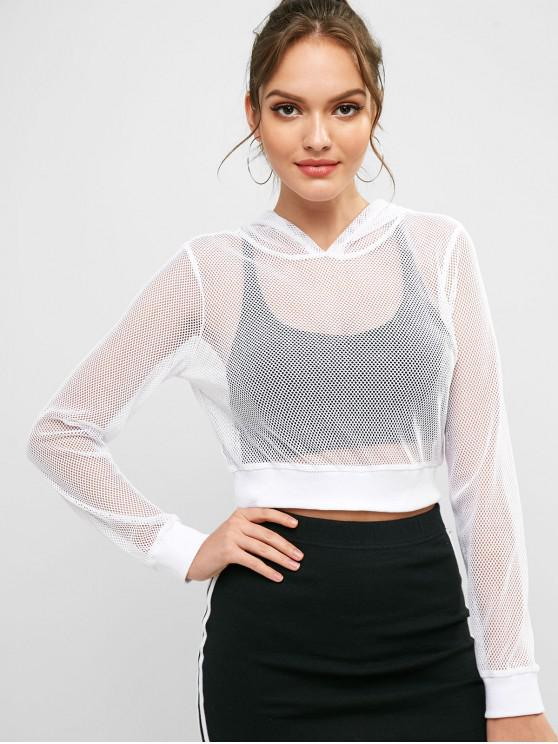 trendy ZAFUL Solid Color Crop Fishnet Hoodie - WHITE S