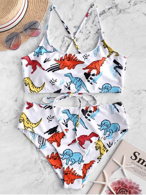 fashion ZAFUL Dinosaur Print Lace-up Bralette Bikini Swimsuit - WHITE M