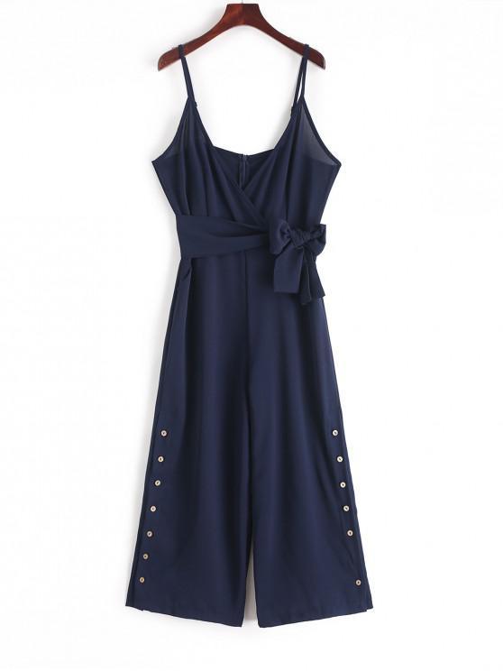 women Buttoned Belted Wide Leg Cami Jumpsuit - DARK SLATE BLUE L